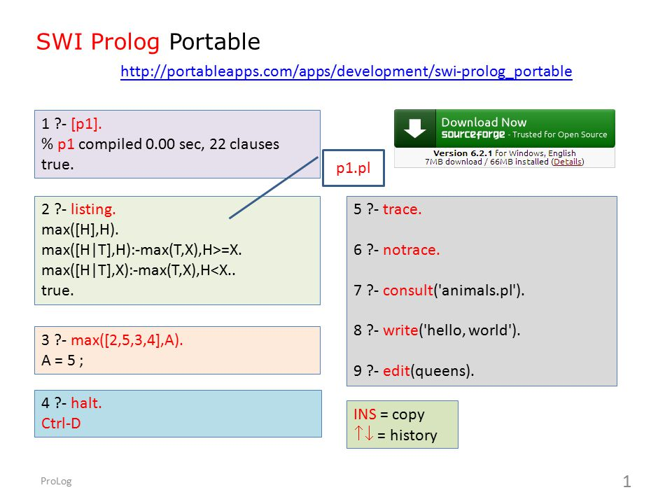 SWI Prolog Portable http://portableapps.com/apps/development/swi-prolog_portable. 1 - [p1]. % p1 compiled 0.00 sec, 22 clauses.